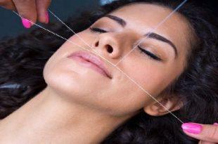 صورة ازالة شعر الوجه بالخيط , اسرع طريقه للتخلص من شعر الوحه