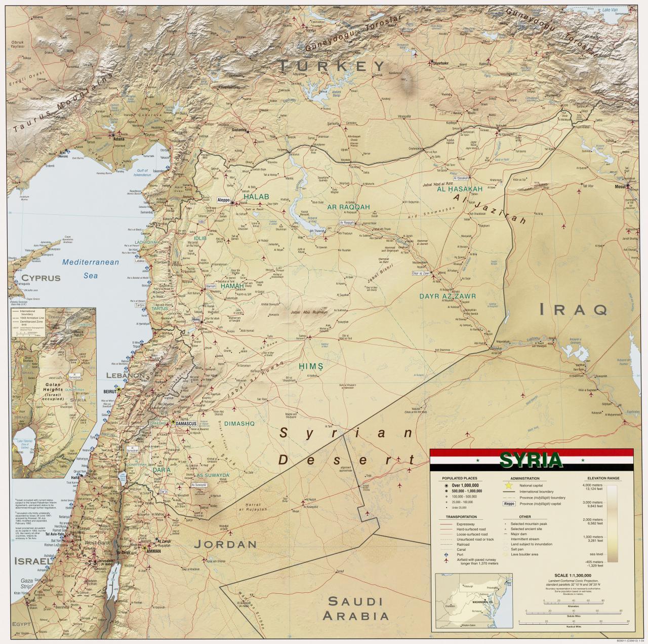 صورة خريطة سوريا التفصيلية , بلاد الشام القديمة ومهد الحضارات