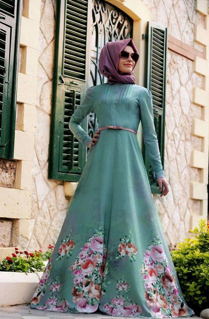 صورة موديلات فساتين محجبات 2019 , احدث تشكيله من الفساتين للفتيات المحجبات