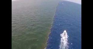 صورة موضع التقاء ماء النهر بالبحر , نقطة مرج البحرين