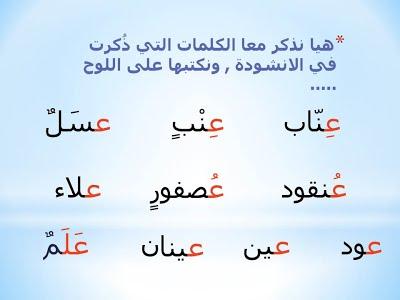 صورة كلمات فيها حرف العين , الحروف الابجدية العربية