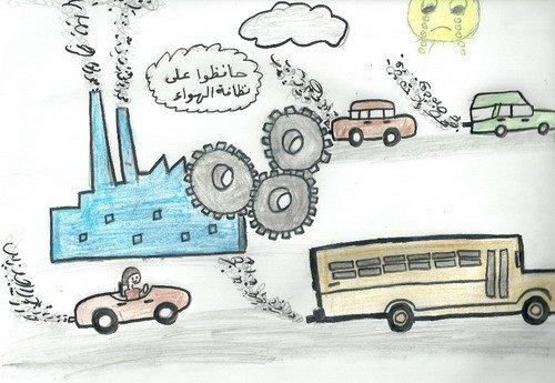 رسم تصميم ابتكارى عن التلوث اخطار عديده بسبب التلوث حنين الذكريات